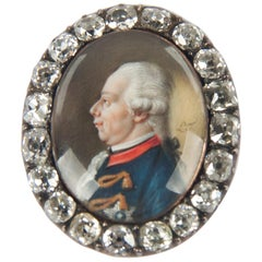 18th Century Painted Golden Jewel with Diamonds Depicting William V.