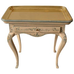 18th Century Painted Rococo Side Table with Brass Tray
