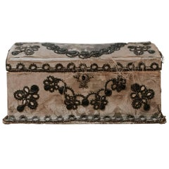 18th Century Painted Silk Jewelry Box