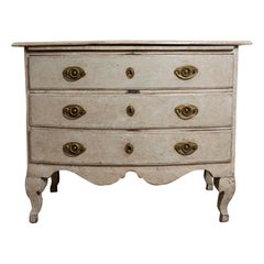 18th Century Painted Swedish Three-Drawer Commode with Sliding Shelf