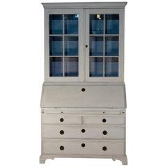 18th Century Painted White Swedish Bureaux Glazed Bookcase