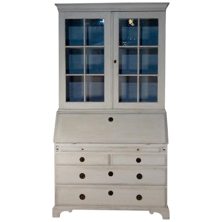 18th Century Painted White Swedish Bureaux Glazed Bookcase For Sale