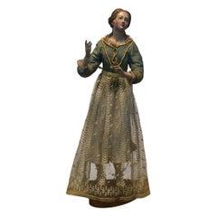 18th Century Painted Wooden Italian Sculpture