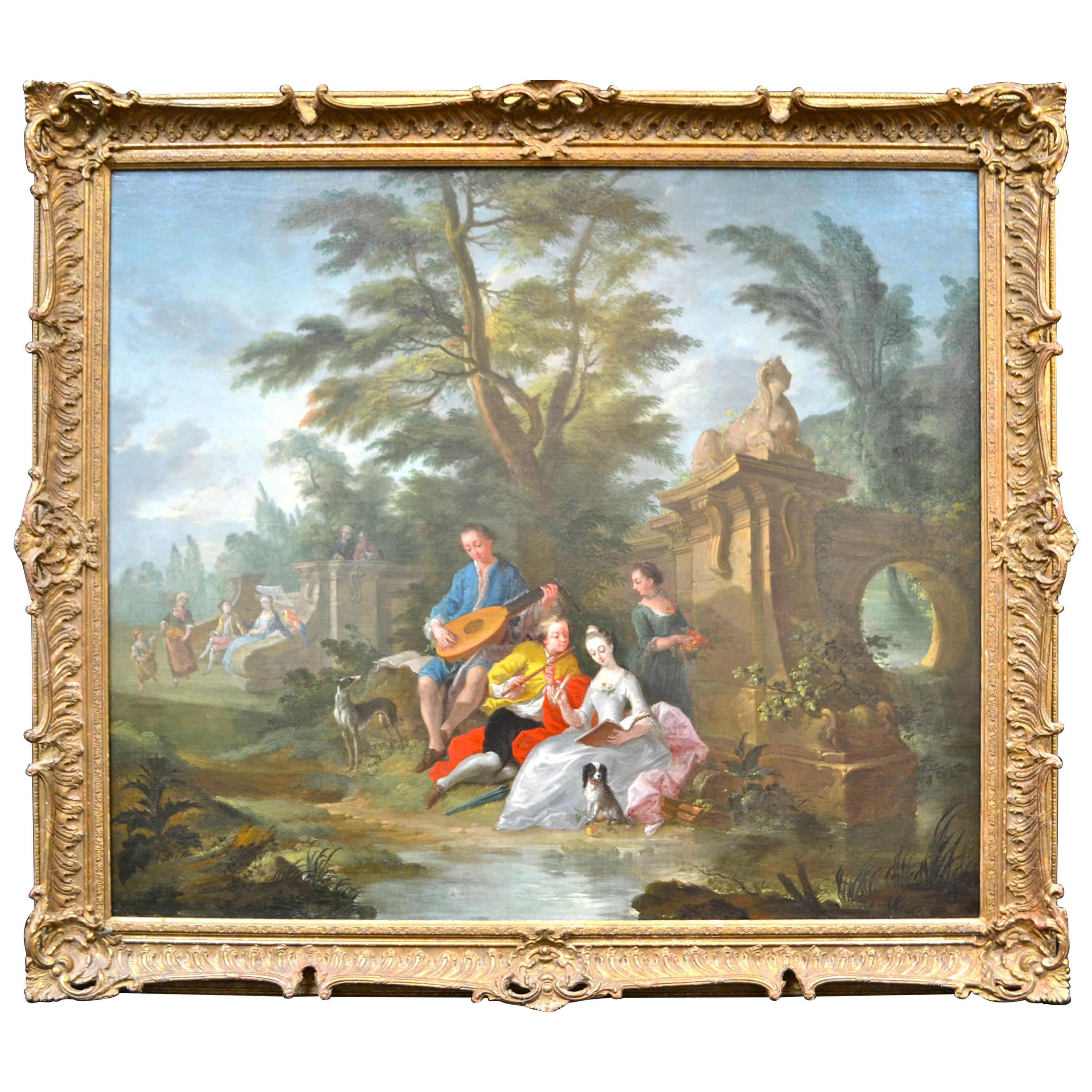18th Century Painting Showing Figures in a Landscape Attributed to Pater