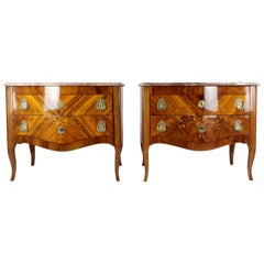 18th Century Pair Chest of Drawers, Austria, circa 1760-1970, Marble Top Nutwood