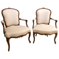 18th Century Pair of Beechwood Fauteuils or Armchairs with Provenance