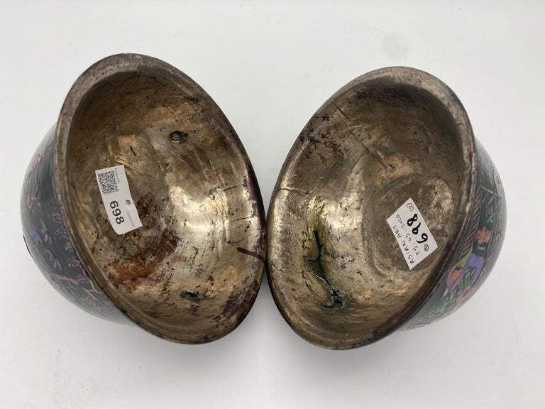18th Century Pair of Chinese Silver Lacquer Bowls with Mother of Pearl Inlaid For Sale 6