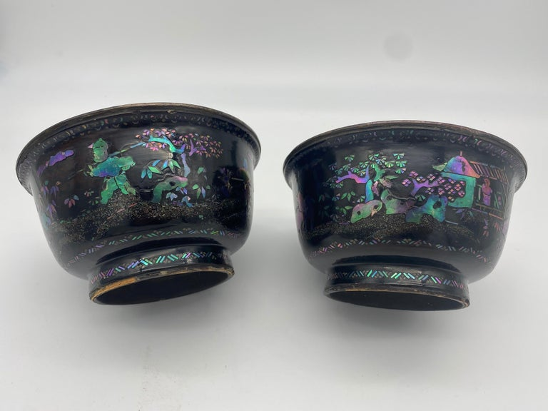 18th Century Pair of Chinese Silver Lacquer Bowls with Mother of Pearl Inlaid For Sale 1