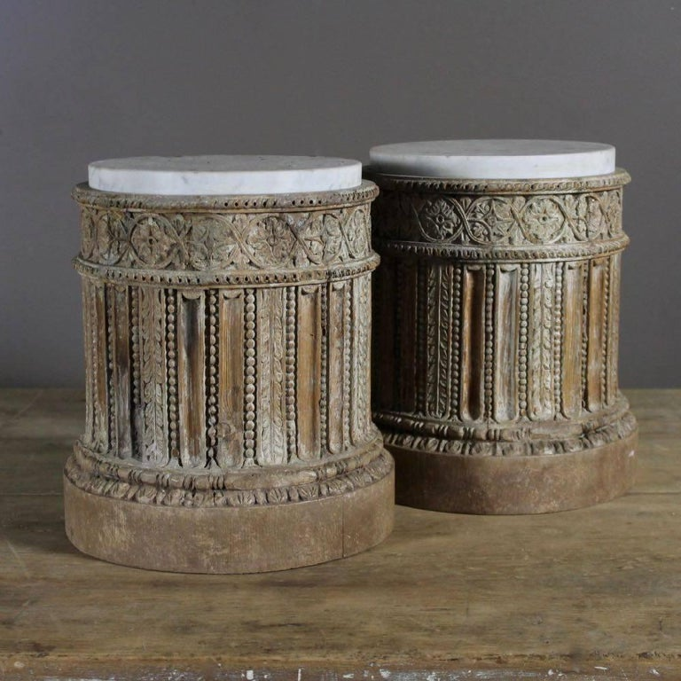 18th Century and Earlier 18th Century Pair of English Table Pedestals with Marble Tops  For Sale