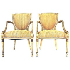 18th Century Pair of Fine French Louis XVI Shield Giltwood and Leather Armchairs
