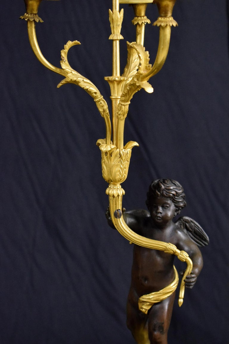 18th Century, Pair of French Gilded Bronze Candlesticks For Sale 4