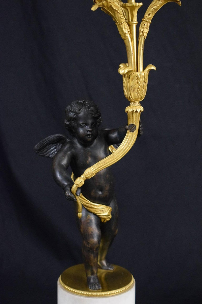 18th Century, Pair of French Gilded Bronze Candlesticks For Sale 5