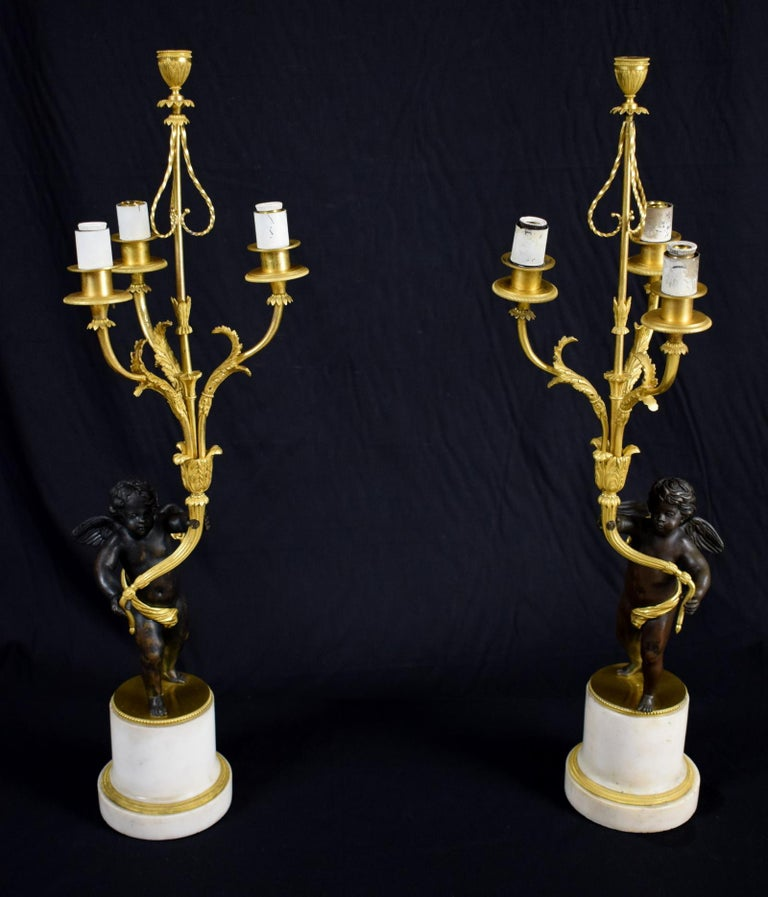 18th Century, Pair of French Gilded Bronze Candlesticks For Sale 13