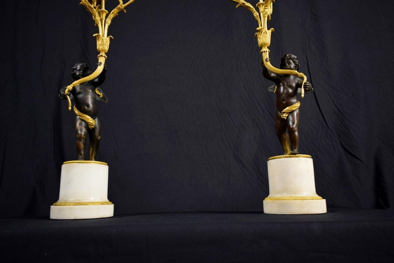 Gilt 18th Century, Pair of French Gilded Bronze Candlesticks For Sale