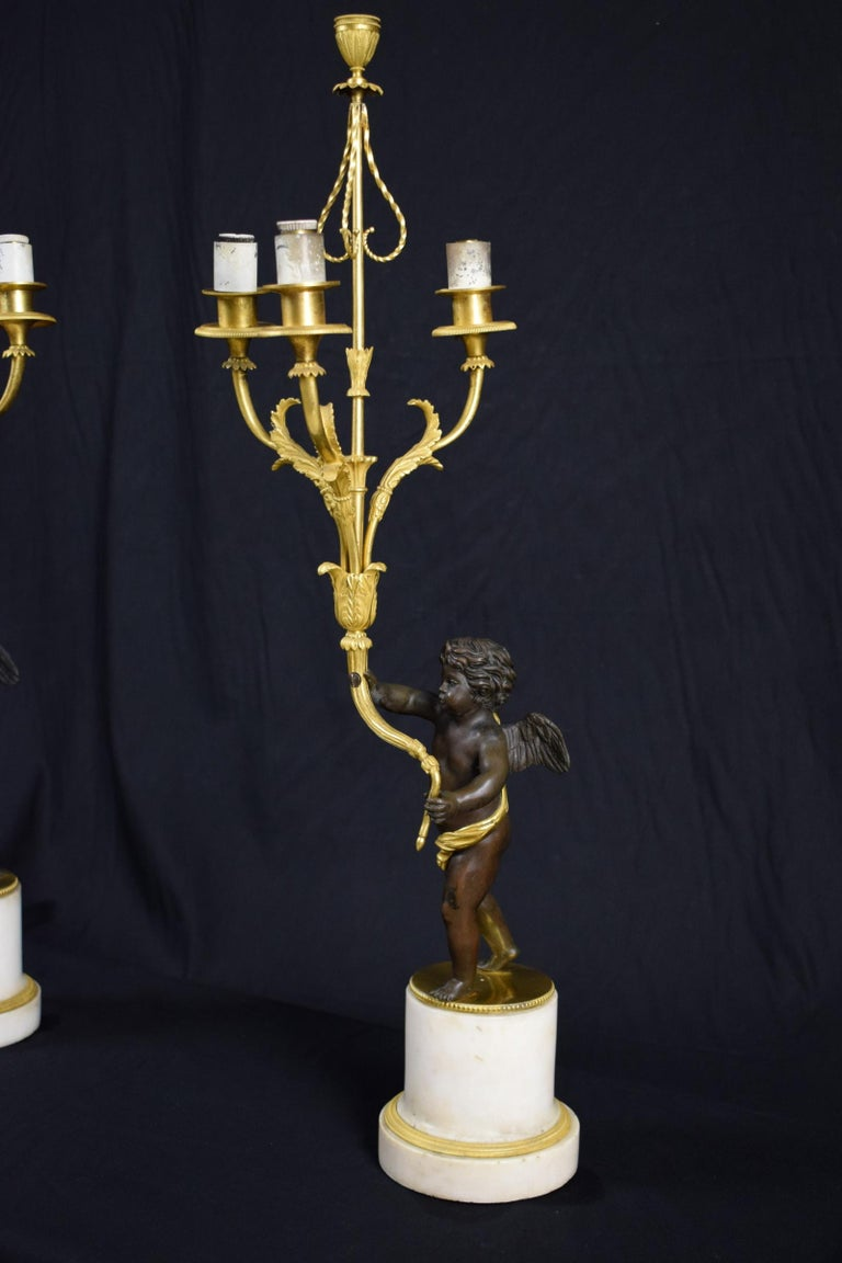 18th Century and Earlier 18th Century, Pair of French Gilded Bronze Candlesticks For Sale