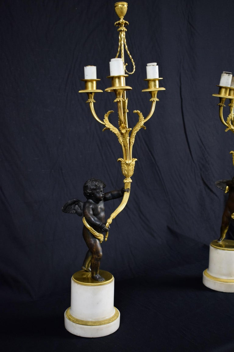 Marble 18th Century, Pair of French Gilded Bronze Candlesticks For Sale
