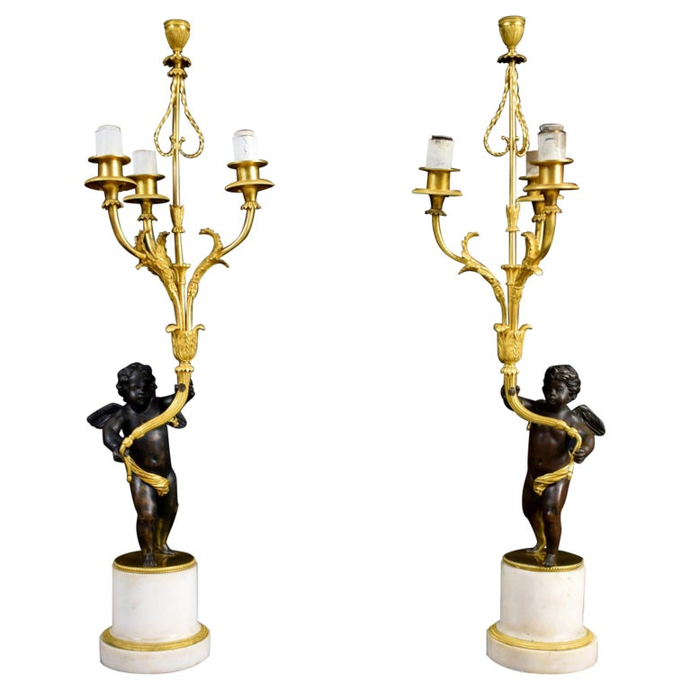 18th Century, Pair of French Gilded Bronze Candlesticks For Sale
