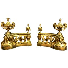 18th Century, Pair of French Gilt Bronze Fireplace Chenets