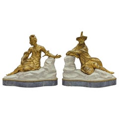 18th Century Pair of French Gilt Bronze Sculptures on Marble Base