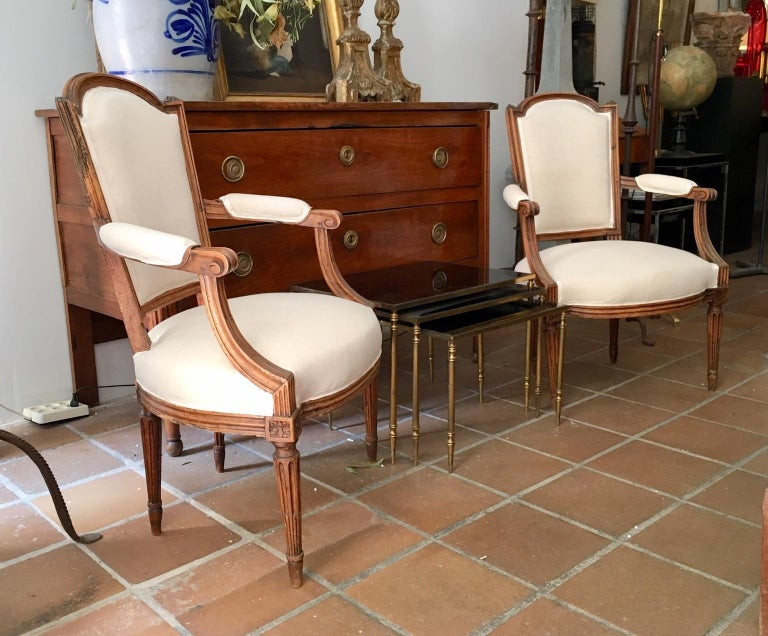 18th Century Pair of French Louis XVI Fauteuils or Armchairs For Sale 8