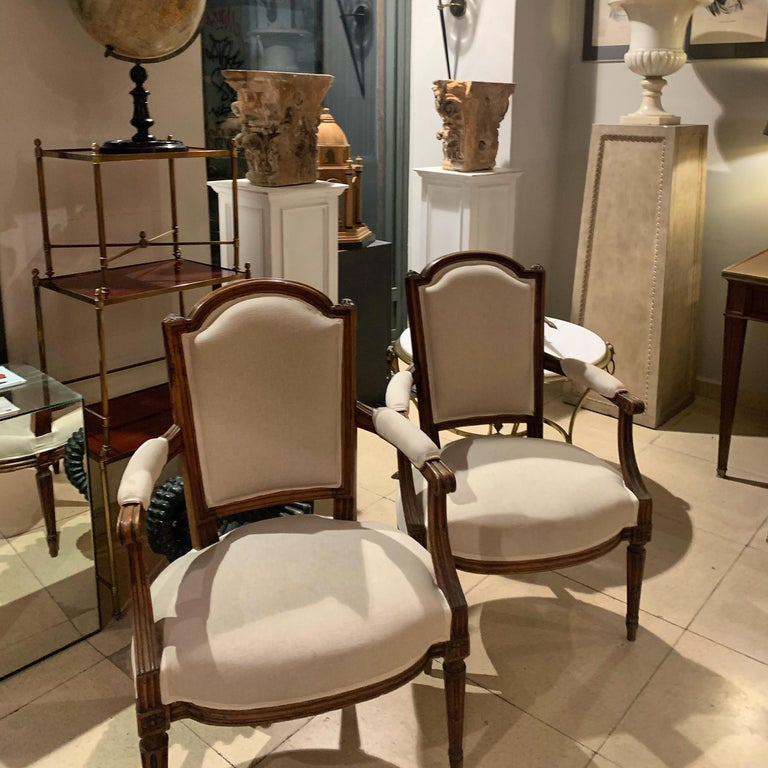 18th Century Pair of French Louis XVI Fauteuils or Armchairs For Sale 9