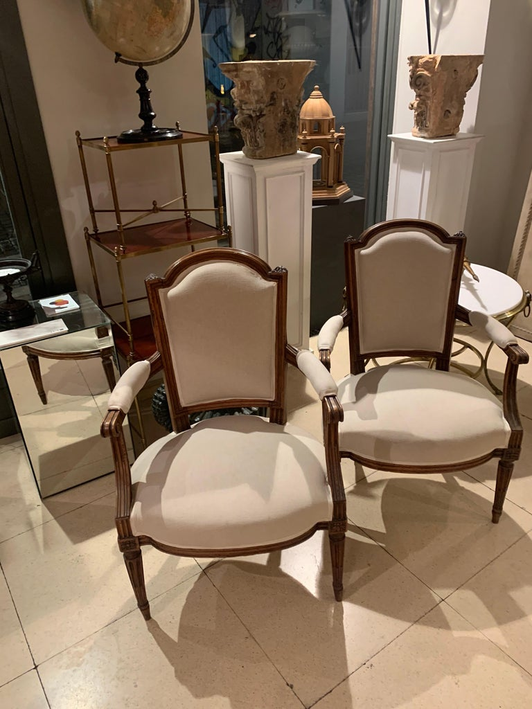 18th Century Pair of French Louis XVI Fauteuils or Armchairs For Sale 10