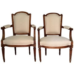 18th Century Pair of French Louis XVI Fauteuils or Armchairs