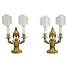 18th Century, Pair of French Louis XVI Two Lights Gilt Bronze Candlesticks