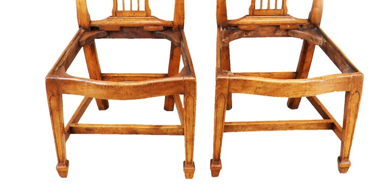Georgian 18th Century Pair of Fruitwood English Side Chairs For Sale