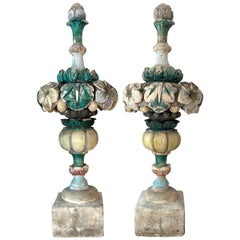 18th Century Pair of Garden Park Ornaments Flower Bouquets Carved Limestone