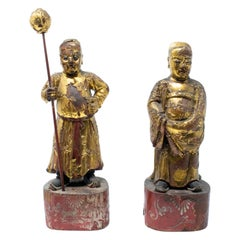 18th Century Pair of Gilded Hand Carved Wooden Buddhist Monks