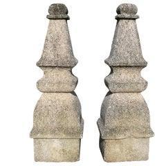 18th Century Pair of Hand Carved Spanish Stone Door Finials