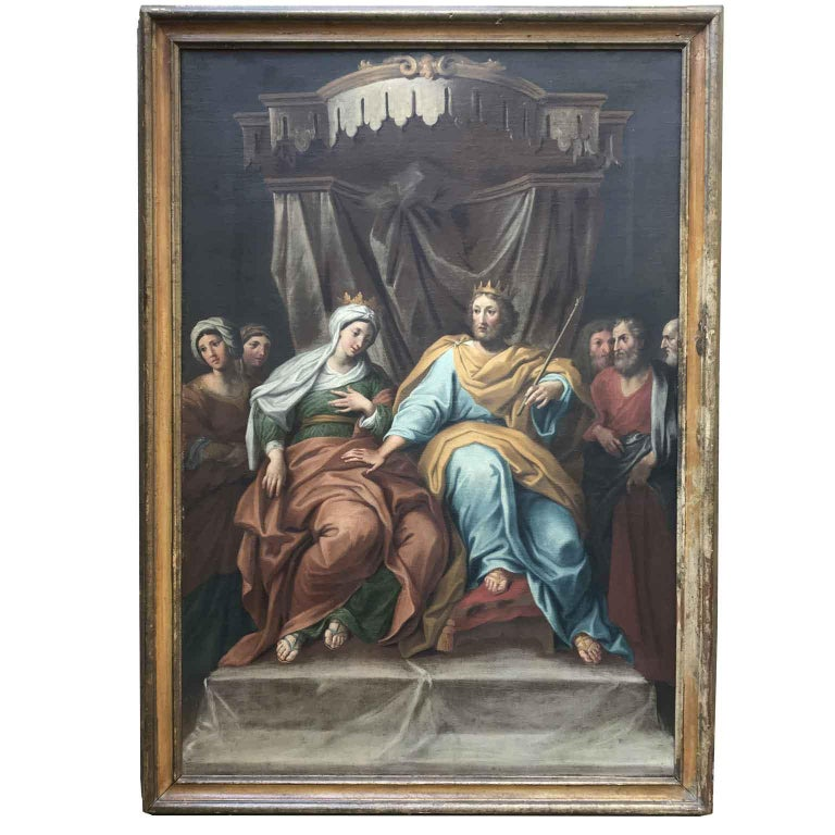 From Central Italy, a pair of oil on canvas paintings with figures, depicting biblical scenes of Esther and King Ahasuerus, dating back to late 18th century, of Italian School, 1780 circa, in good age related condition, set within painted and