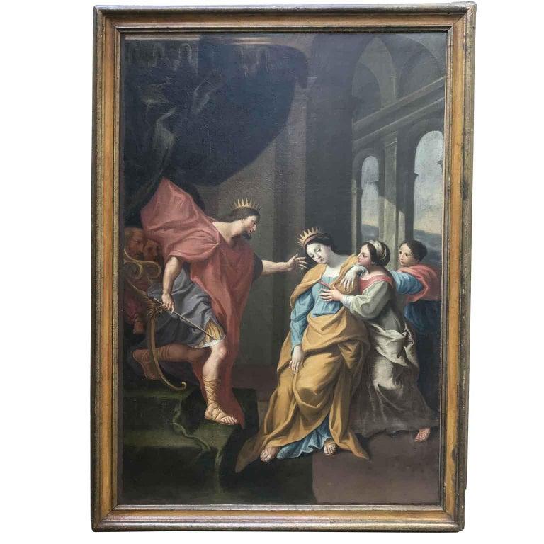 Neoclassical 18th Century Pair of Italian Biblical Paintings Esther before Ahasuerus For Sale