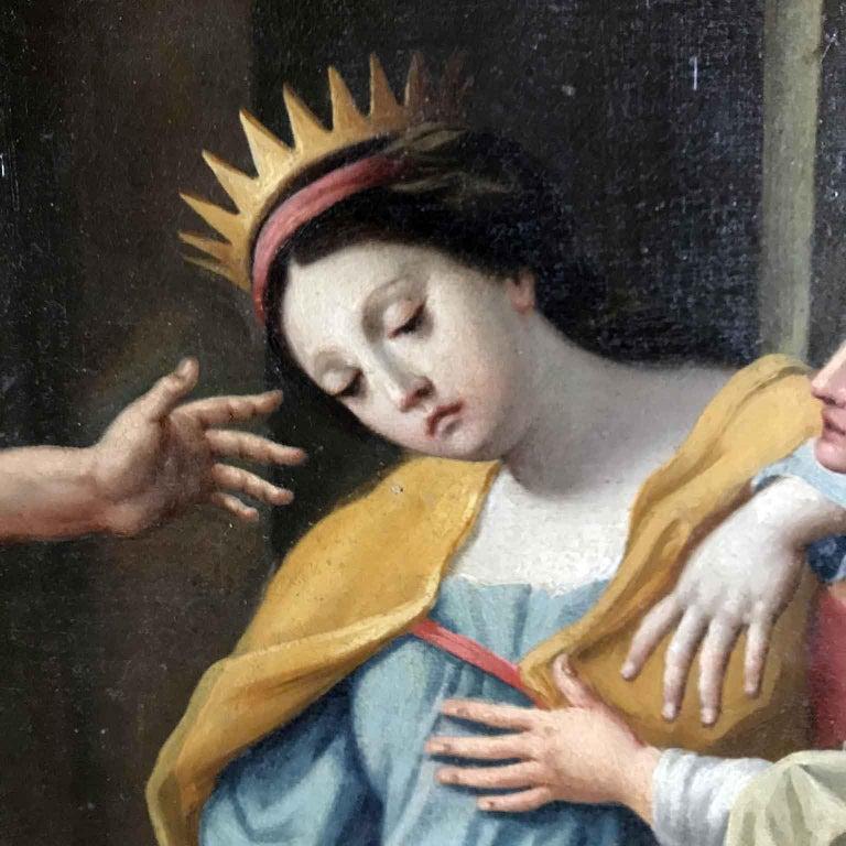 Hand-Painted 18th Century Pair of Italian Biblical Paintings Esther before Ahasuerus For Sale