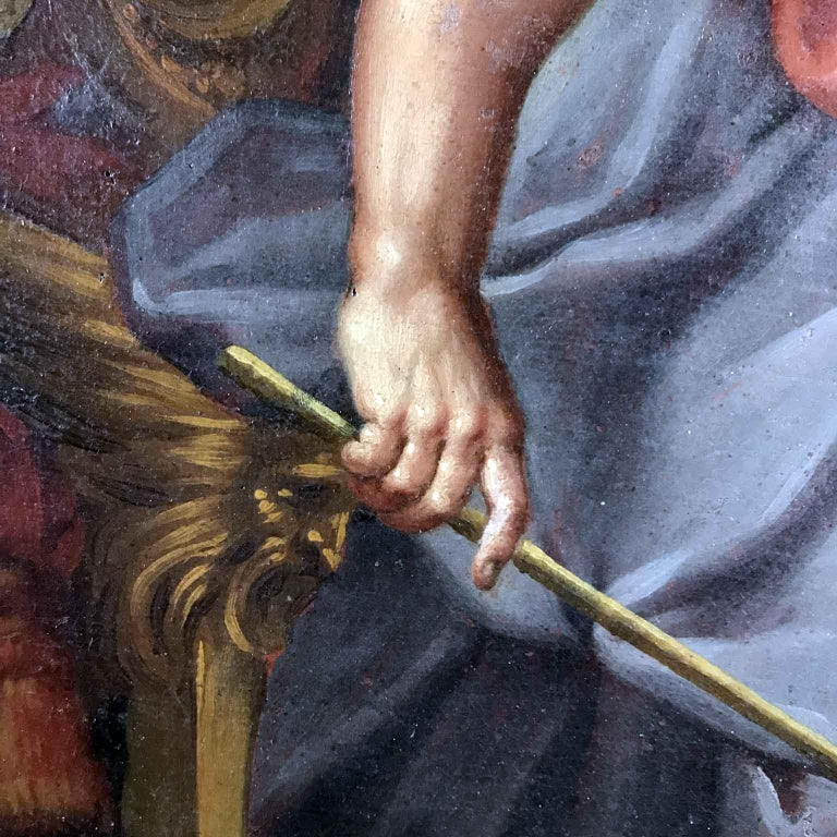 Canvas 18th Century Pair of Italian Biblical Paintings Esther before Ahasuerus For Sale