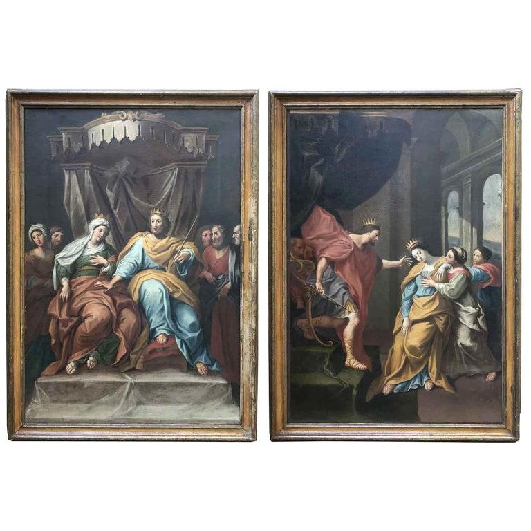 18th Century Pair of Italian Biblical Paintings Esther before Ahasuerus For Sale