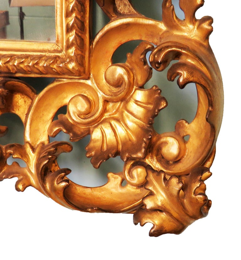 18th Century Pair of Italian Florentine Giltwood Wall Mirrors For Sale 3