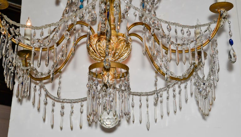 Excellent pair of 18th century Italian giltwood and beaded crystal chandeliers from Genoa.