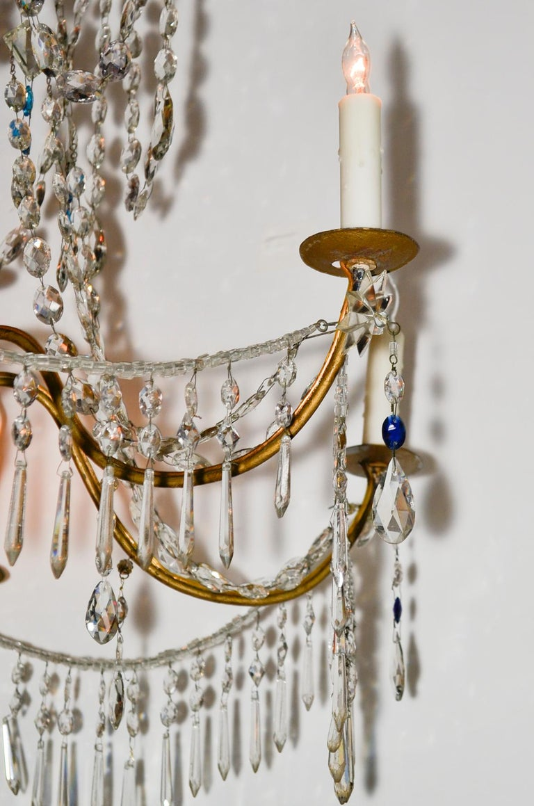 18th Century and Earlier 18th Century Pair of Italian Giltwood Crystal Chandeliers For Sale