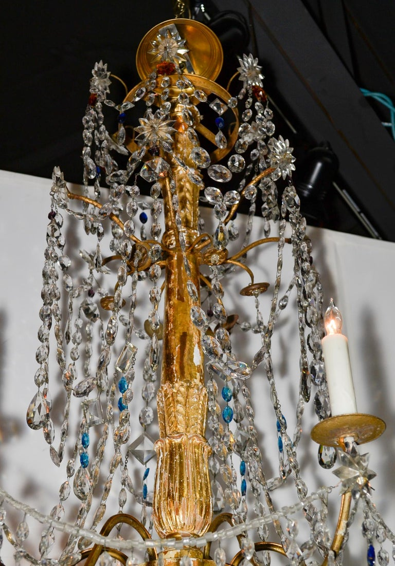 18th Century Pair of Italian Giltwood Crystal Chandeliers For Sale 2