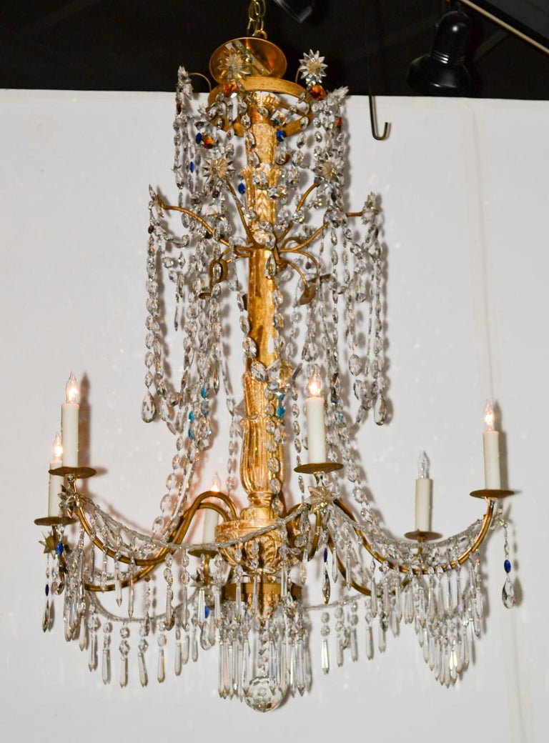 18th Century Pair of Italian Giltwood Crystal Chandeliers For Sale 3