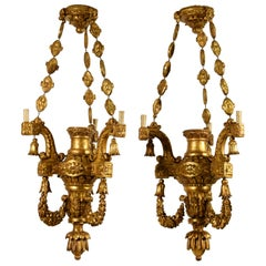 18th Century, Pair of Italian Hand Carved Giltwood Chandeliers