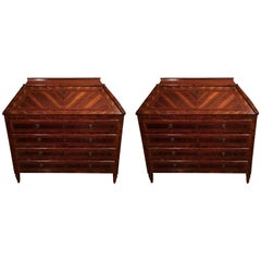 18th Century Pair of Italian Inlaid Mahogany Chests of Drawers with Secretaire