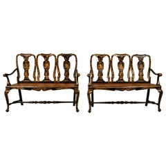 18th Century, Pair of Italian Lacquered Chinoiserie Wood Sofas