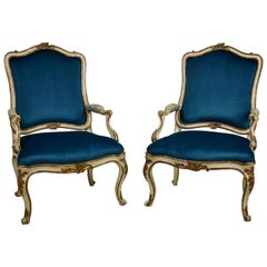 18th Century, Pair of Italian Lacquered Silver Carved Wood Armchairs