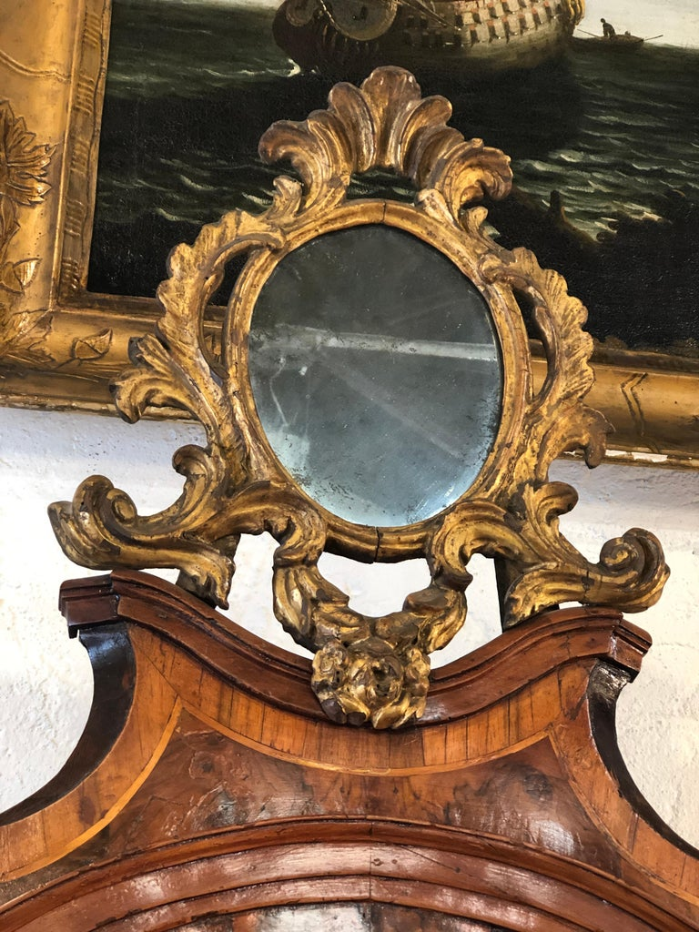 18th Century and Earlier 18th Century Pair of Italian Louis XV Walnut Trumeau City of Verona, 1750s For Sale