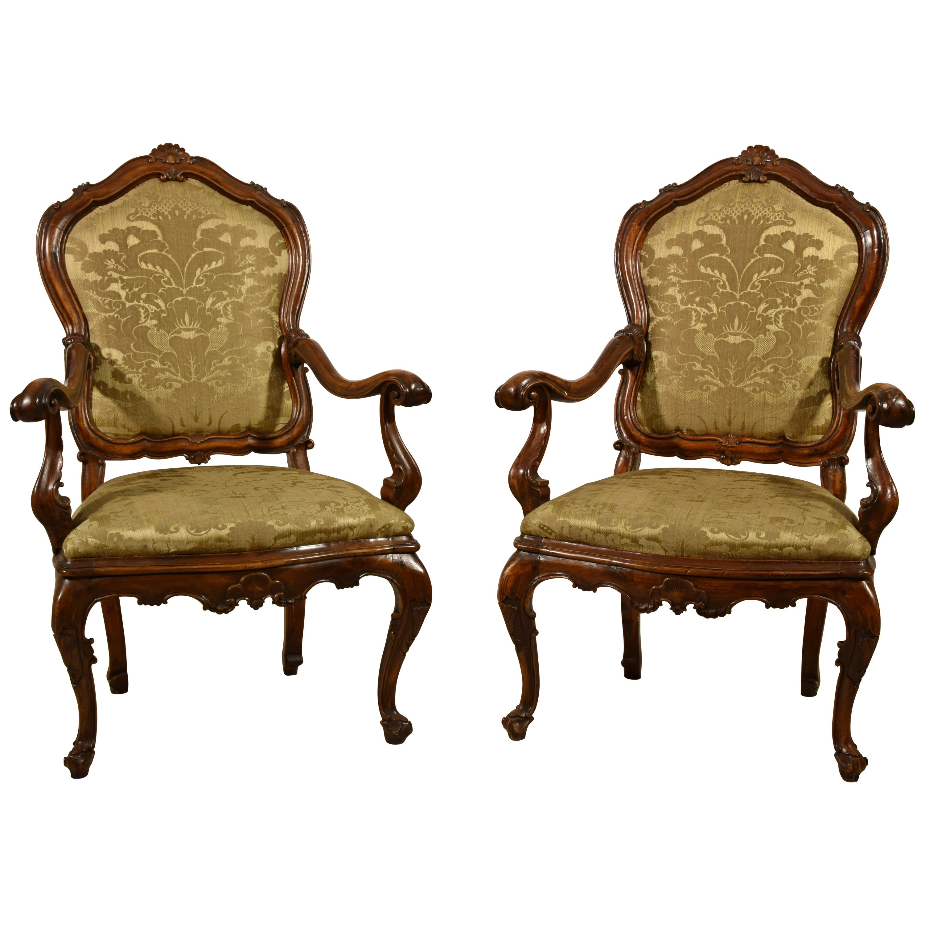 18th Century, Pair of Italian Louis XV Wood Armchairs