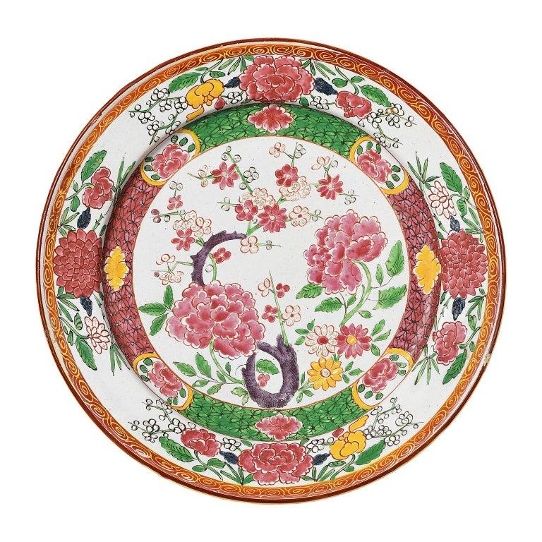 Rococo 18th Century Pair of Italian Maiolica Dishes Milano, circa 1770 For Sale
