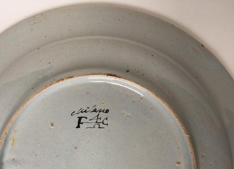 Late 18th Century 18th Century Pair of Italian Maiolica Dishes Milano, circa 1770 For Sale